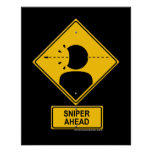 Sniper Ahead Warning Sign (Head Shot) Posters
