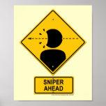 Sniper Ahead Warning Sign (Head Shot) Print