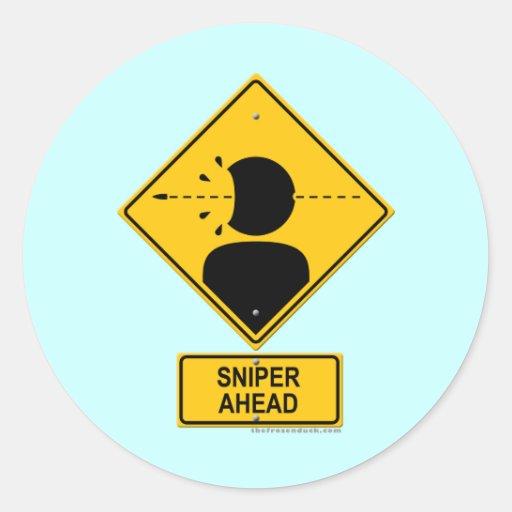 Sniper Ahead Warning Sign (Head Shot) Classic Round Sticker