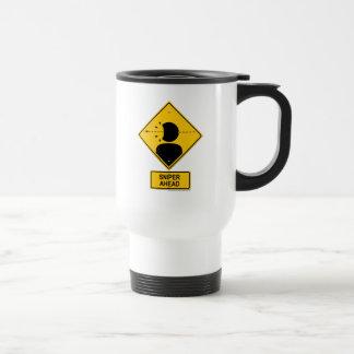 Sniper Ahead Warning Sign (Head Shot) Travel Mug