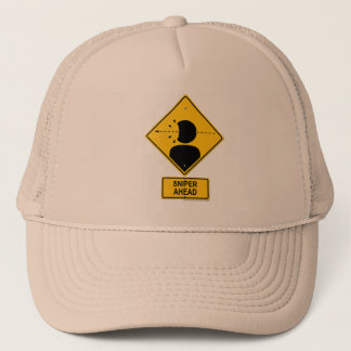 Sniper Ahead Warning Sign (Head Shot) Trucker Hat
