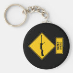Sniper Ahead Warning Sign Keychains