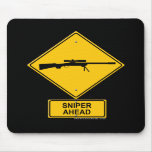 Sniper Ahead Warning Sign Mouse Mats