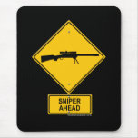 Sniper Ahead Warning Sign Mouse Pad