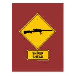 Sniper Ahead Warning Sign Postcard