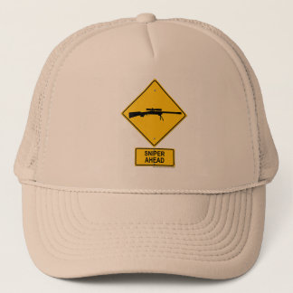 Sniper Ahead Warning Sign Trucker Hat