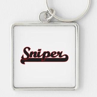 Sniper Classic Job Design Silver-Colored Square Keychain
