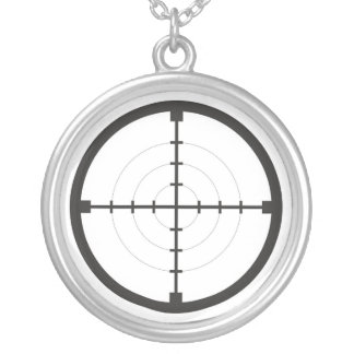 sniper finder target symbol weapon gun army silver plated necklace