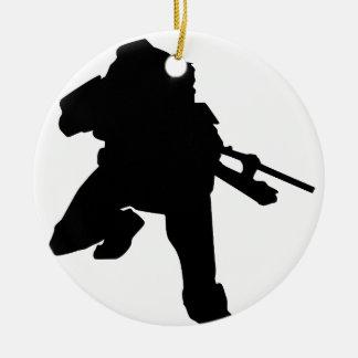 Sniper Silhouette Ceramic Ornament