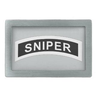 Sniper Tab - White & Black Rectangular Belt Buckle