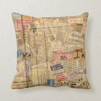 Snippets of Paper Grunge Pillow