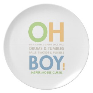 Snips & Snails Baby Boy's Personalized Gift Plate plate