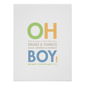 Snips & Snails Baby Boy's Room Poster