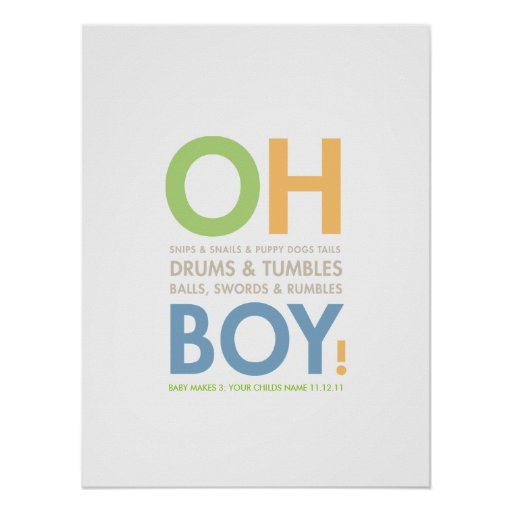 Snips snails baby boy 39 s room poster zazzle