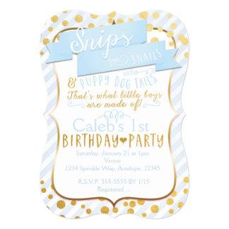 Snips & Snails Blue Gold Birthday Party Invitation