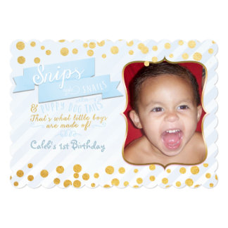 Snips & Snails Blue & Gold Party Photo Invitations