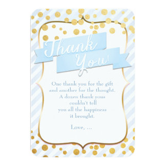 Snips & Snails Blue & Gold Party Thank You Card