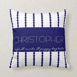 Snips & Snails &... Navy/White Stripes w Name Throw Pillow