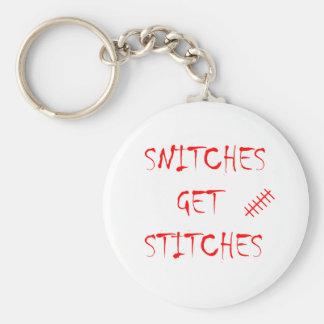Snitches Get Stitches Keychain