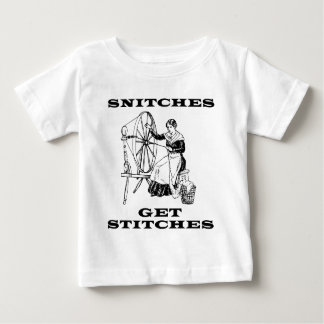 Snitches Get Stitches Sewing Seamstress Pun Baby T-Shirt