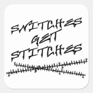Snitches Get Stitches Square Stickers