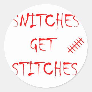 Snitches Get Stitches Classic Round Sticker