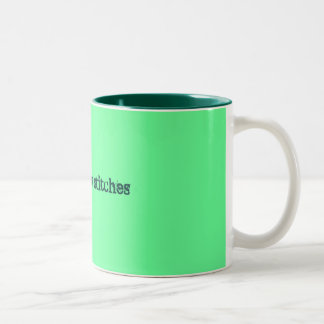 snitches get stitches Two-Tone coffee mug