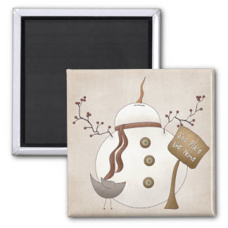 Sno Place Like Home Winter Snowman Design 2 Inch Square Magnet