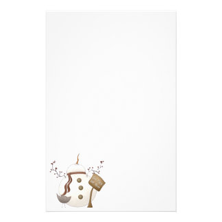Sno Place Like Home Winter Snowman Design Stationery Design