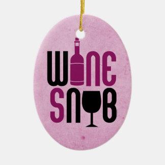 Snob del vino adorno navideño ovalado de cerámica