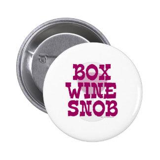 Snob del vino de la caja pins