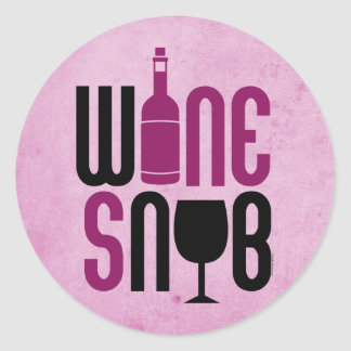 Snob del vino pegatina redonda