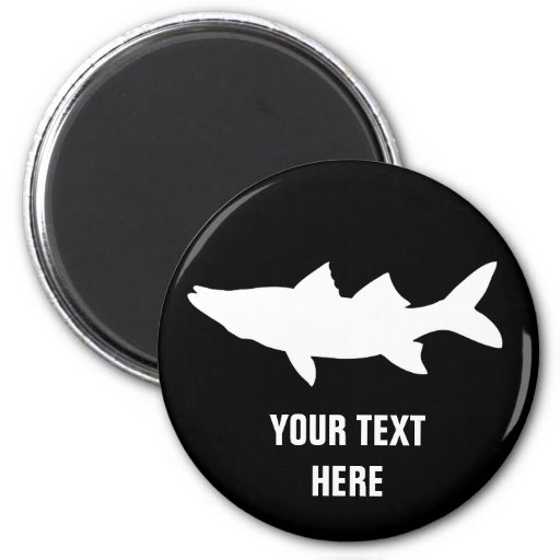 Snook Fishing Silhouette 2 Inch Round Magnet