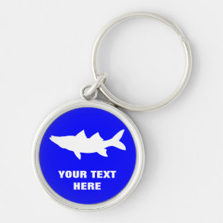 Snook Fishing Silhouette Silver-Colored Round Keychain