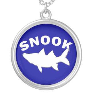Snook Silhouette - Snook Fishing Round Pendant Necklace