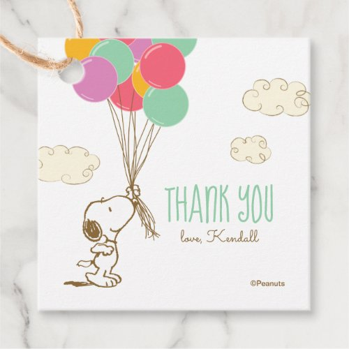 Snoopy and Balloons Baby Shower Favor Tags