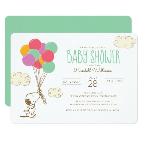 Snoopy and Balloons Baby Shower Invitation
