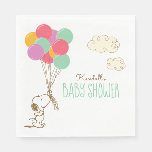 Snoopy and Balloons Baby Shower Napkins