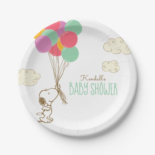 Snoopy and Balloons Baby Shower Paper Plate