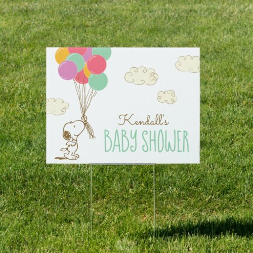 Snoopy and Balloons Baby Shower Sign