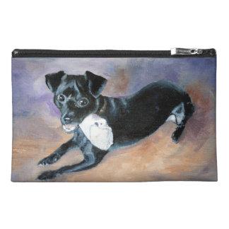 Snoopy Black Rat Terrier Mix Dog Portrait Travel Accessory Bags