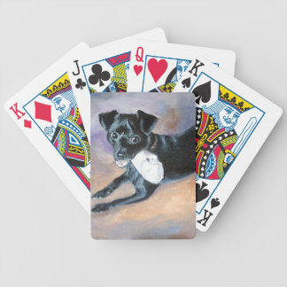 Snoopy Black Rat Terrier Mix Dog Portrait Bicycle Playing Cards