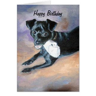 Snoopy Black Rat Terrier Mix Dog Portrait Card