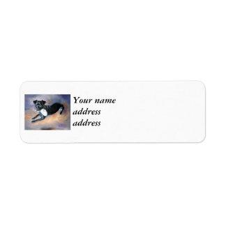 Snoopy Black Rat Terrier Mix Dog Portrait Label