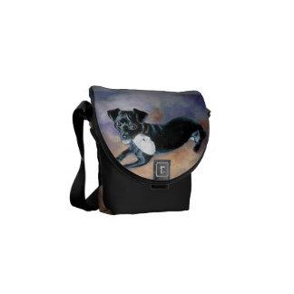 Snoopy Black Rat Terrier Mix Dog Portrait Messenger Bags