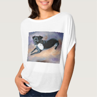 Snoopy Black Rat Terrier Mix Dog Portrait T-Shirt