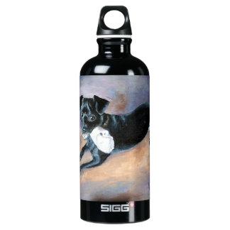 Snoopy Black Rat Terrier Mix Dog Portrait Water Bottle