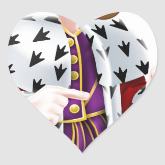 Snooty King Pointing Cartoon Heart Sticker