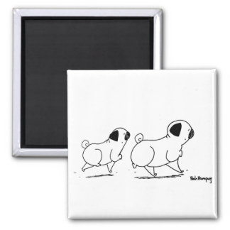 Snooty Pugs 2 Inch Square Magnet