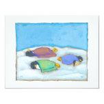 Snoozing adorable art penguins fun slumber party card